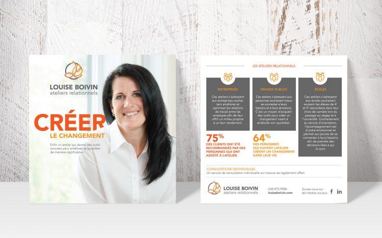Stratégie de marque et positionnement pour les Ateliers relationnels Louise Boivin. Création 30&1 Pub + Design.